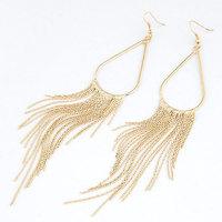 Fashion Elegant Gold Silver Metal Tassel Earrings For Women