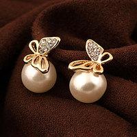 Earring sweet fashion all-match crystal butterfly pearl stud earring for women