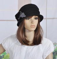 M92 Cute Flowers Winter Warm Wool Acrylic Women's Hat Beanie Ski Cap BLACK-GREY