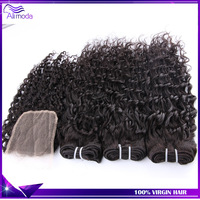 Best quality  3pcs Malaysian curly virgin hair with 1 lace closure unprocessed Malaysian virgin hair deep Curly hair weave