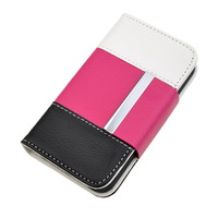 Neewer Tri-Color Faux Leather Wallet Book Flip ID Card Case Folio Cover for Apple iPhone 4 4S (Pink/White/Black)