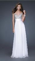 Fashion New Sexy V-Neck Red Long Evening dress Colorful chiffon blue prom dresses 2014 vestidos white vestido de festa longo E39