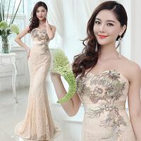 Sexy Slim Elegant Lace Embroidery Long Design Fishtail Wedding Dress Formal Dress Champagne LF344
