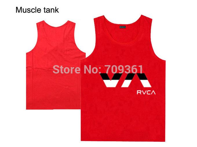 nova chegada homens tanque tops rvca roupa marca de moda hip hop muscular roupas fitness musculação camiseta frete grátis vermelho(China (Mainland))