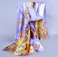 New Fashion Spring Summer Autumn Winter Plus Size165cm*50cm Women Print Flower Patterns Silk Scarves China Style Long Scarf