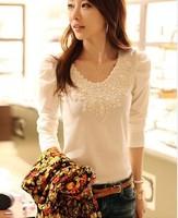 New 2014 Summer Korean Cotton Plus Size O-neck Full Sleeve Mesh Lace Beading T shirt Tops girl t shirt women Free Shipping 8877