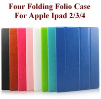 For Apple Ipad2/3/4 Four Folding Folio Tablets Case Ultrathin Fashion Cozy  with Sleep/Awake Function Eight Colors Free Shipping