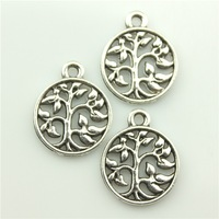 150pcs/lot 15mm vintage antique silver plated zinc alloy tree of life charm