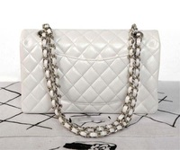 2014  purse  25.5cm 1112 pearl white  original leather chain bag  new fashion  wholesale and retail brand  women design handbag