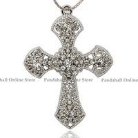 Alloy Rhinestone Pendants, Cross, Platinum, Crystal, 64x45x4mm, Hole: 3mm