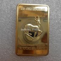 Wholesale South Africa Crocodile and Krugerrand Bullion Bar/Gold Ingot (Iron +gold plated)