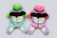 Free Shipping 2014 Winter Hotting Dog Four Legs Suit  Pet Cotton-Padded Clothing Green And Pink
