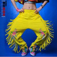 Hiphop hip-hop hiphop jeans female sports tassel loose pants jazz dance ds costume