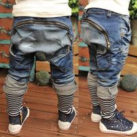 Children's Harem Jeans 2014 Boys girls Child Jean spliced striped