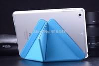 For iPad Mini 2 Smart Case Transformer Folding Cross Pattern Cover For iPad Mini II Retina Leather Cover Free Screen Guard