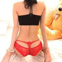 Fashion Sexy Lady Lace Underwear G-String Thongs T-Pants Intimates Seamless Briefs Rose M