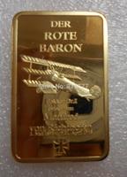 Wholesale German Der Rote Baron Bullion Bar/Gold Ingot (Iron +gold plated)