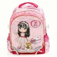 Free Shipping New 2014 Fashion Children Kawaii Lori Girls Princess Lace Design School Bags Backpack For Girls-Pink