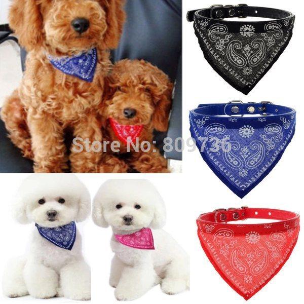 1PC Drop Shipping New Adjustable Pet Products Dog Cat Bandana Scarf Collar Neckerchief 4 Colors Bulk Hot Sell(China (Mainland))