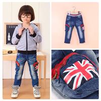 2014 Children Boys Denim Flag Union Jeans Double Pockets age 2-6