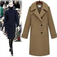 Brand UK 2014 Latest Paris Designer Women Winter Smiple Camel Navy Slim Fit Woolen X-long Coat  Female Casual Outerwear Casacos