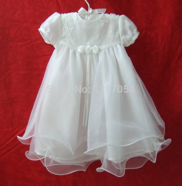 Newborn White Polyester Cotton Baby Baptism Dress Baby Girl Formal Christening Dresses Baby Clothing(China (Mainland))