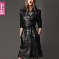 Free Shipping 2013 NEW Women's Winter Fashion Green Tea Plus Size Slim Black Leather Clothing Female Medium-Long Trench WZ11