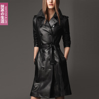 Free Shipping 2013 NEW Women's Winter Fashion Green Tea Plus Size Slim Black Leather Clothing Female Medium-Long Trench WZ11