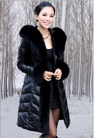 Factory Direct Sale 2014 New Design Women's Long Genuine Sheepskin Leather Down Jacket / Coat Hooded,Retail and Wholeasle
