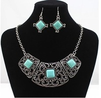 CHOKER NECKLACES Hot sale 2014,New Fashion Jewelry National  Vintage Kallaite Sliver Necklace Set for Women