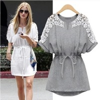 Fast Shipping 2014 Fashion New Batwing Sleeve Round Neck Summer Dress Plus Size Loose Casual Dress For Women Brand Dresses D8986