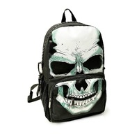 2014 high quality male female pirate skull canvas backpack large capacity school bag punk double shoulders bag #G21