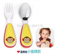 Free shipping Cute Portable Children Cartoon Animal Tableware Plastic Handle Stainless Steel Tableware baby Fork Spoon Utensils