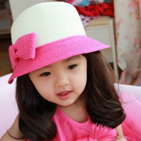 2014Fashion chrildren Unisex  Trilby Gangster Cap Summer Beach Sun Straw Panama Hat Lovers Hat