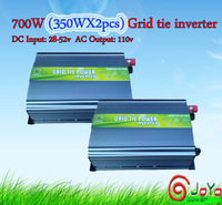 700watt (350Wx2pcs) Grid Tie Inverter for Solar Panel 28V-52V DC, 110V, High Efficiency, Free Shipping) factory hot sale!!