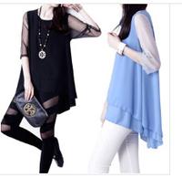 European and American women's perspective mesh stitching long sleeve loose big yards short sleeve chiffon shirt A   NZ430