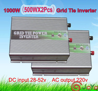 1000watt (500wx2pcs) Grid Tie Power Inverter, 28-52V DC input, 220V AC output, FACTORY DIRECTLY SALE