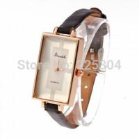 Free Shipping 5pcs Women Quartz Wristwatch Wrist Watch Black PU Leather Band Strap Rectangle Dial