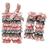 2014 Retail White Lace Ruffle Romper And Leg Warmer Blue Star Satin Petti Romper Matching Legging For Newborn Free Shipping