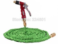 Free shipping Retail 25ft Garden hose with Spray water Gun Nozzle expandable Natural Latex water hose high quality