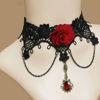 Lots of 10 Pieces Handmade Red Flower Rose Bead Drop Pendant Black Lace Choker Short Necklace Lolita Gothic Vintage Party Cos
