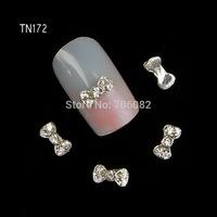 New 2014 Fashion 20 pcs/pack 3D Alloy Small Bow Women Nail Crystal Rhinestone Nail Art Decorations DIY Decorations TN172