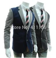 Korean Men Vintage Slim Stitching Leather Blazers New 2014 Fashion Mens Fitted Slim Blazer Casual Suit M-XXL Navy Blue Black
