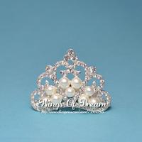 (30pcs/lot) 2 Colors Elegant Pearl Crown For Wedding Bridal Bridesmaid Crystal Rihnestone Tiara Crown For Headband
