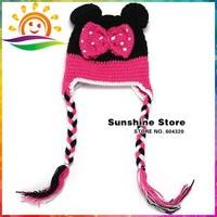 wholesales lovely Infant Knit winter hat Bow baby hat crochet handmade animal photography Crochet Hats beanie #3C2664 10 pcs/lot