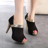 2014 new European trend of mixed colors waterproof fish head stiletto shoes and bare boots free shipping wholesale