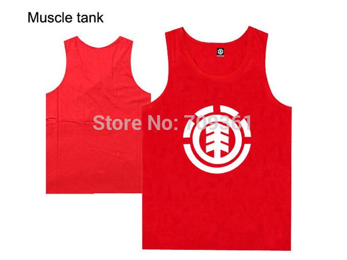 nova chegada camiseta regata elemento tops roupas de ginástica marca de moda hip hop musculação fitness musculação músculo vermelho(China (Mainland))