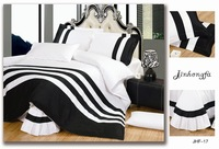 2014 HOT SALE 4PC bedding set king queen size cotton stripes solid color bedclothes bed cover export quality duvet cover
