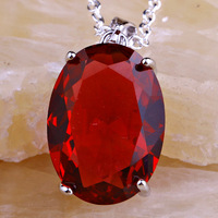 Wholesale Fulgurant Oval Cut Ruby Spinel Silver Chain Pendant Necklace Fashion Jewelry For Women Free Shipping