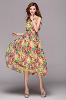 Free shipping lady casual flower chiffon long dress high quality bohemian summer dresses S,M,L,XL beach tank dress ZJK005